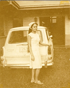 Nanay Alpha Sorensen and car, 1970s